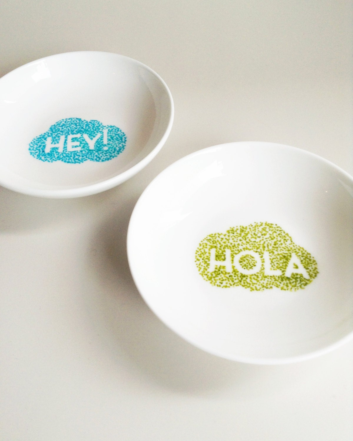 Set of 2 Porcelain Tapas/Salt/Jewellery Bowl/Plates  - hand drawn/decorated in Hola & Hey Cloud pattern
