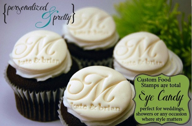 Food Safe Acrylic Stamp - For Fondant, Cupcakes, Brides and Birthdays