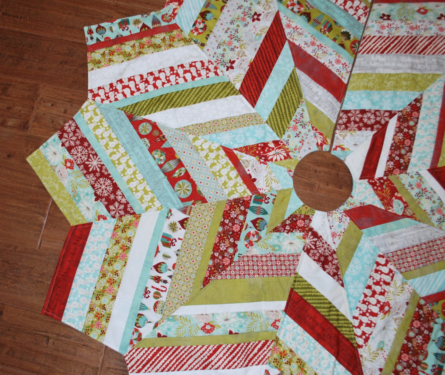 Quilted large christmas tree skirt aspen frost by monkeymuffin
