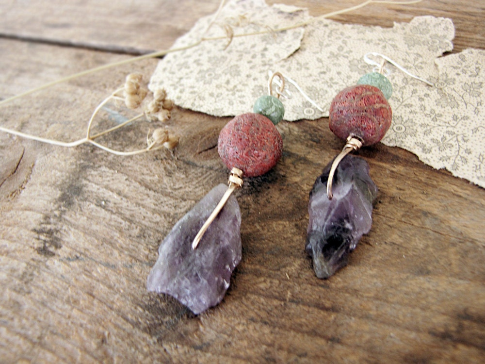 Frost - raw amethyst earrings - red coral beads- amethyst nuggets - modern rustic