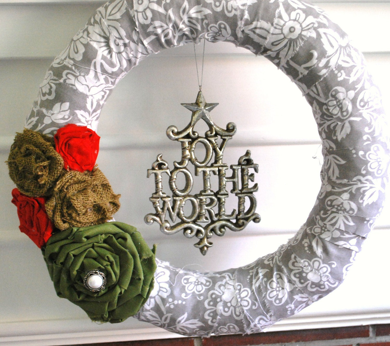 Christmas fabric covered wreath-Joy to the World