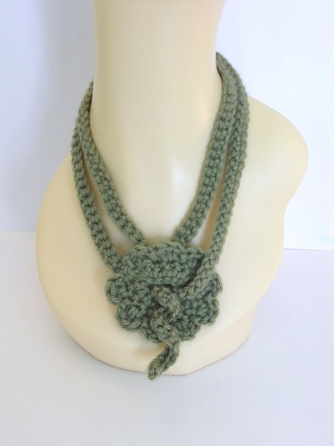 "Olive Green Handmade Crochet Fashion Necklace/Head Band or Belt 46""Long, Fashionable, Gift, Woman, Versatile"