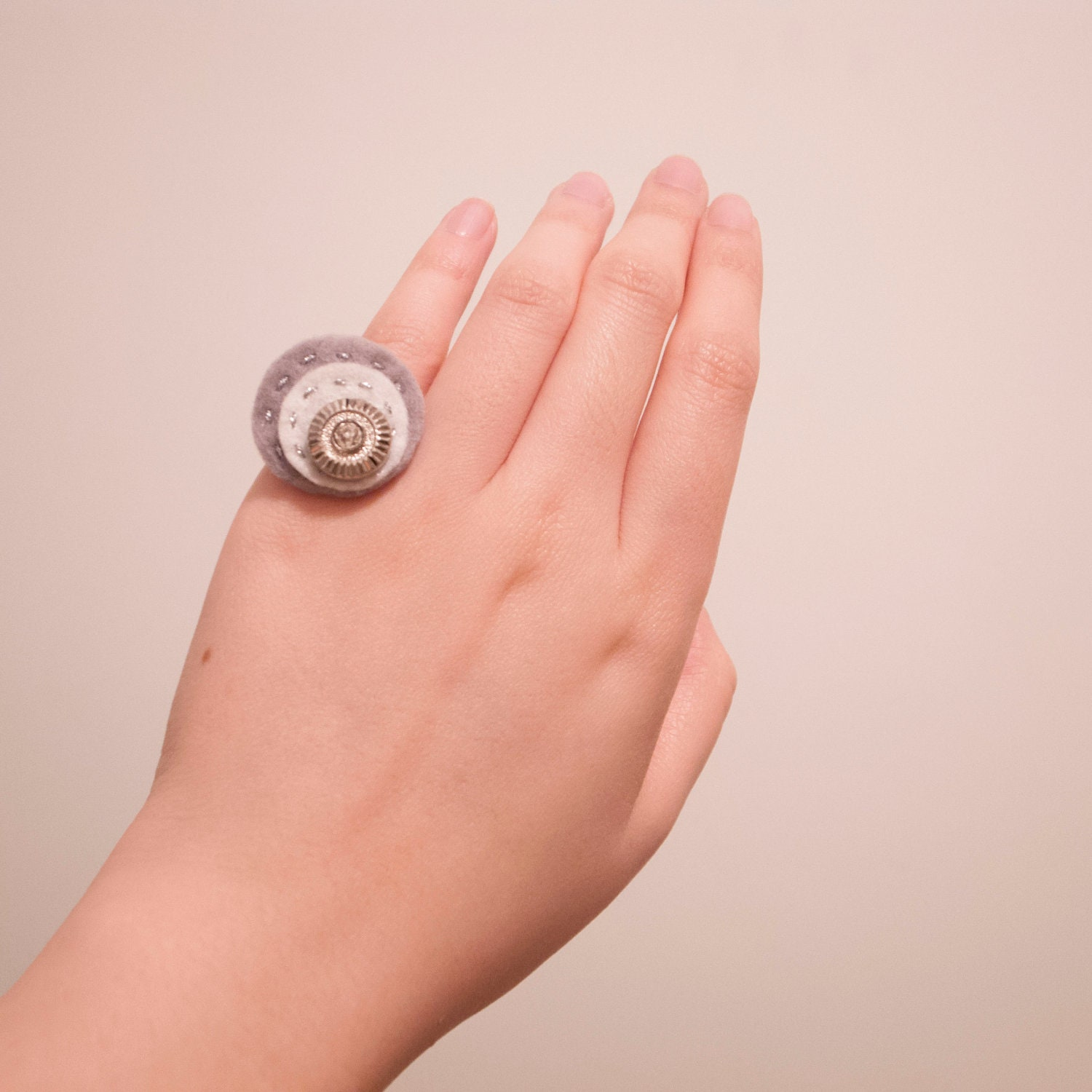 Gray Felt Vintage Button Ring Stitched with Silver Thread, Adjustable Ring, Small Finger Ring, Xmas Gift, Christmas Gift