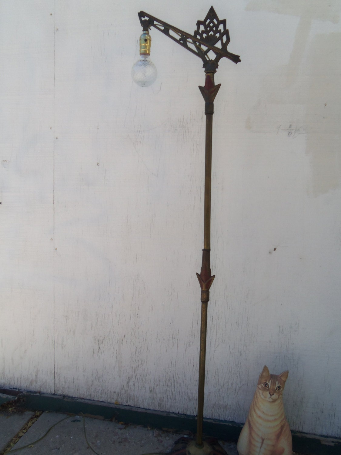 Vintage Art Deco Iron And Brass Floor Lamp By Bettyrayvintage