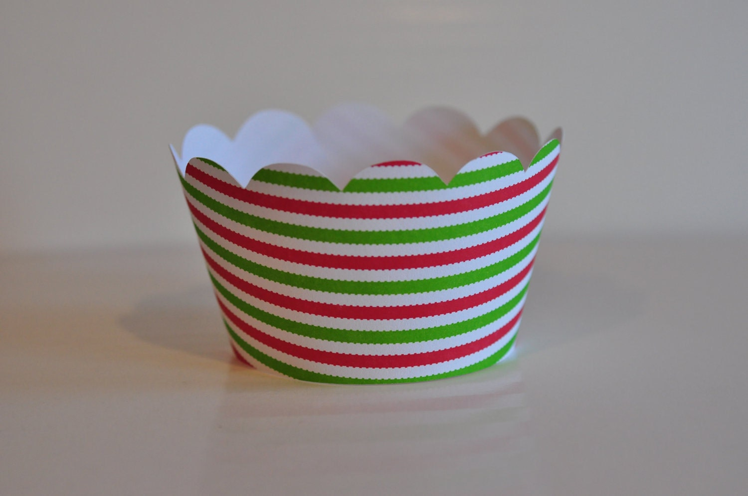 Red and Green Striped Christmas Cupcake Wrappers