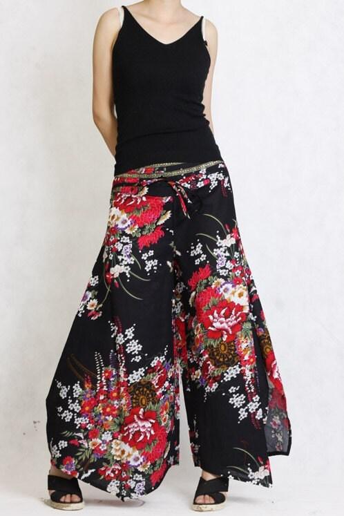 سیاه قرمز گل کتانی بلند تقسیم شلوار دامن ظهور کم