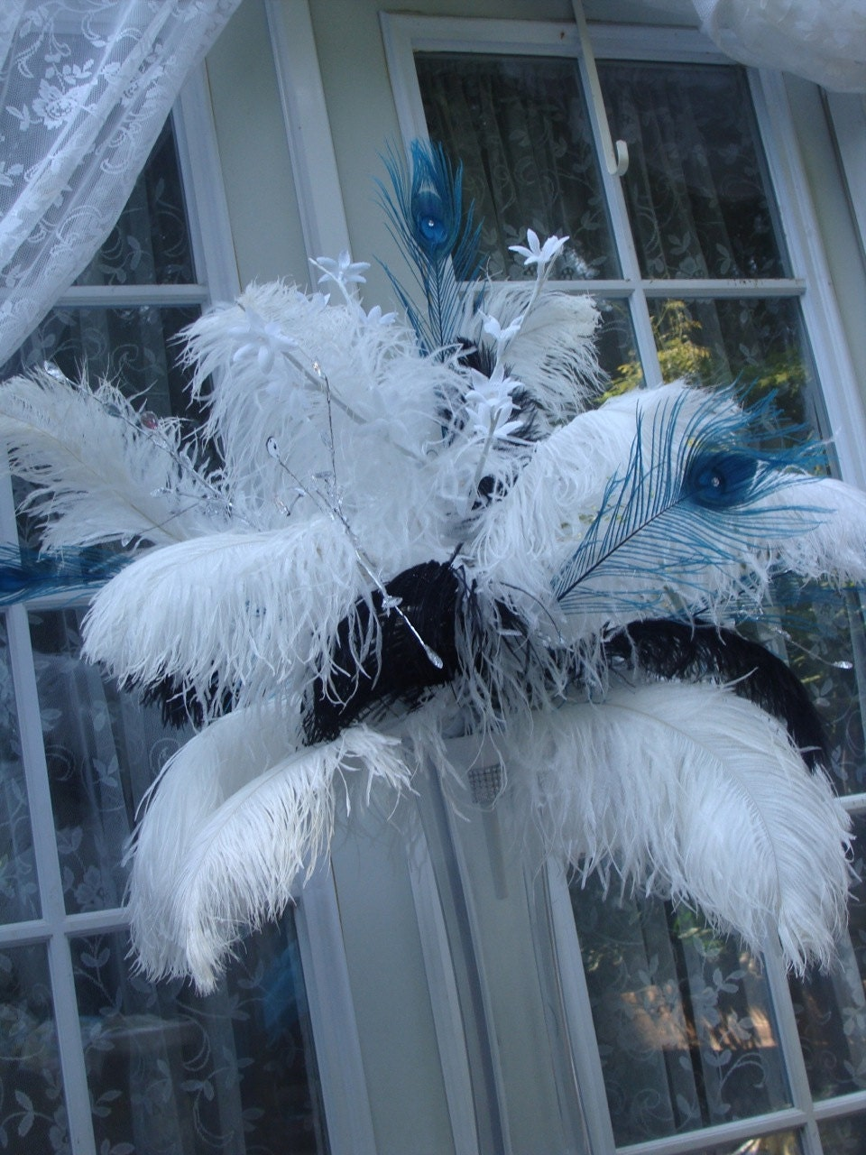 13 Custom White Ostrich Feather Centerpiece With Black By