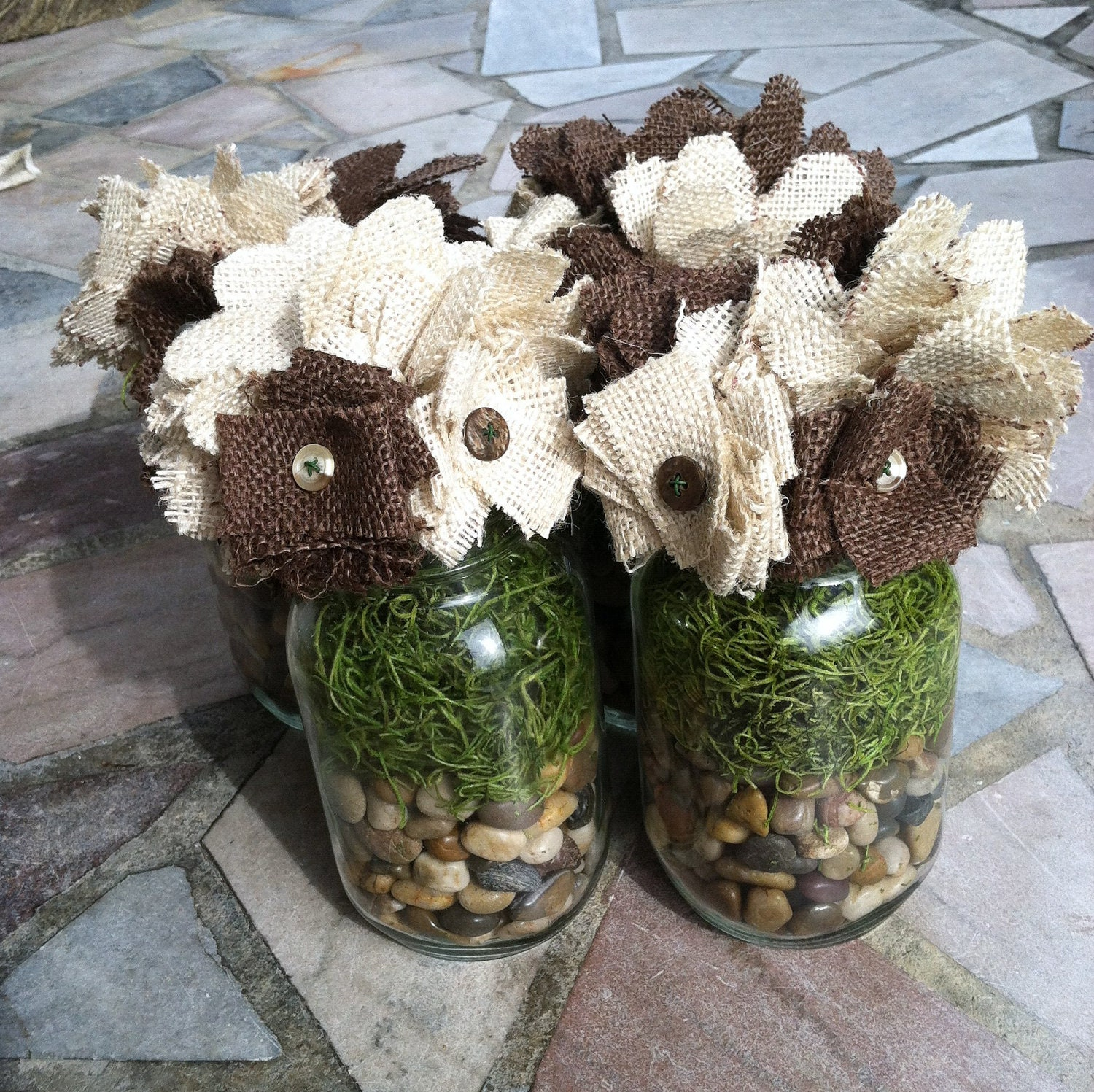 Mason Jar with Burlap Flowers Great for Weddings Parties Showers Gifts or Home Decor