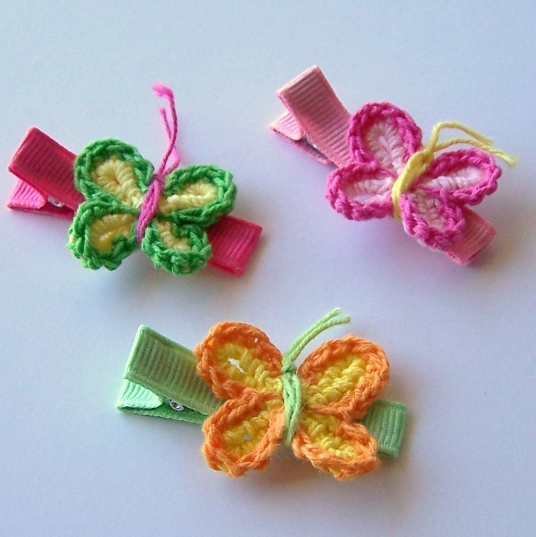 Set of 5 Clippies You Choose Crocheted Flower and Butterfly Designs FREE SHIPPING ON ALL ADDITIONAL ITEMS