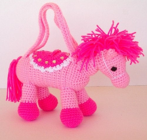 Pink Pony Crocheted Purse for Girls Valentine