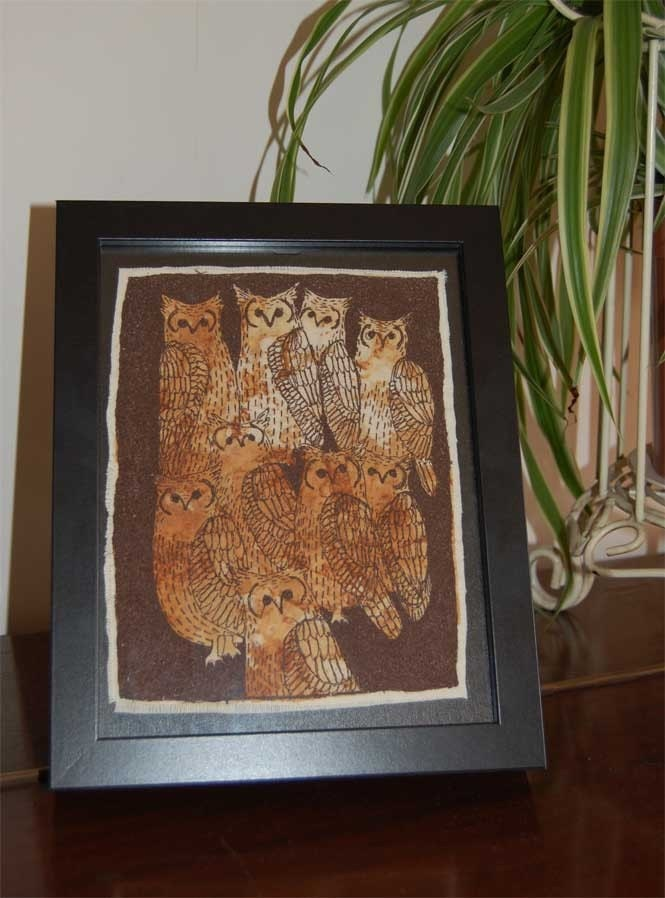 Embroidered art work - Parliment of Eagle Owls ON SALE