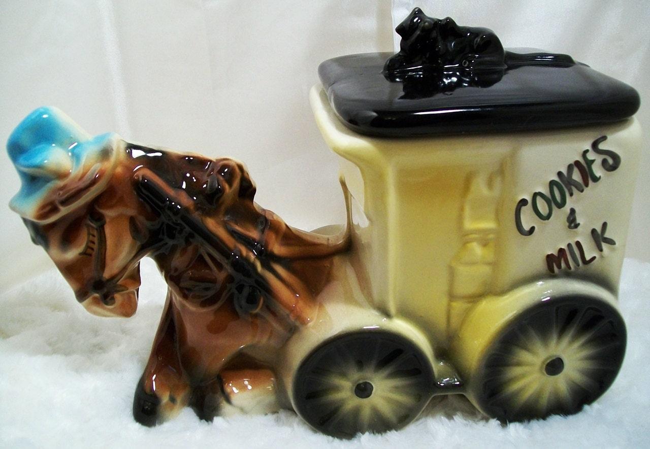 American Bisque Donkey Horse & Cart Cookie Jar