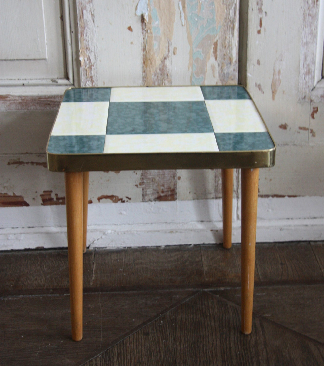 German Blue and White Tile Mid Century Plant Stand / End Table - RetroKombinat