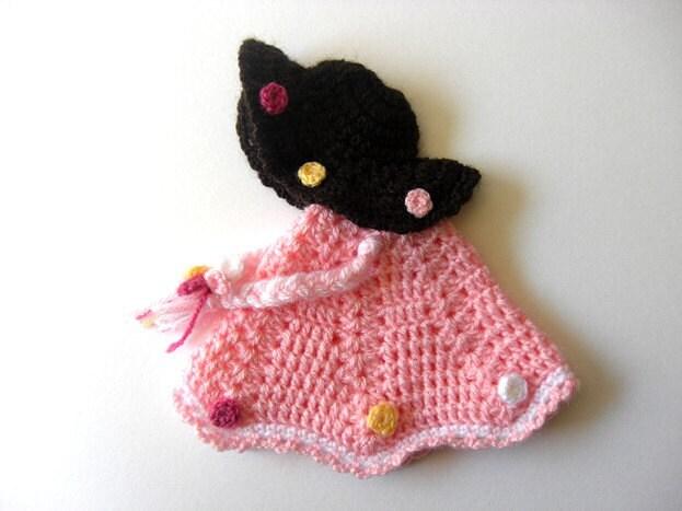Pot Holder Little Doll Dress Hat Decor Crochet Kitchen Tutorial Applique Girl - PDF Pattern
