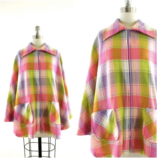 vintage 70s pink purple and green plaid cape - AsburyHill