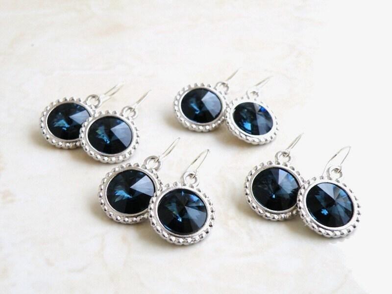 Bridal Earrings Swarovski Crystal Rivoli Sterling Silver Montana Navy Blue Set of 6 Bridesmaids Jewelry Wedding Jewelry