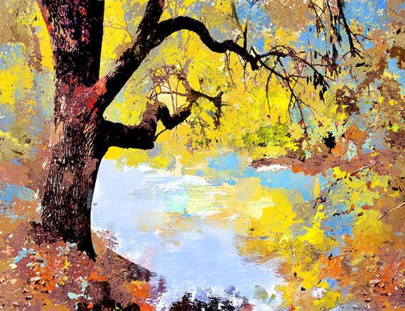 Yellow Oak Tree and Flowing River - Charming Gift - Original Painted Photograph - North Carolina, 11x14 Giclee print Matted to 16x20 - dorataya