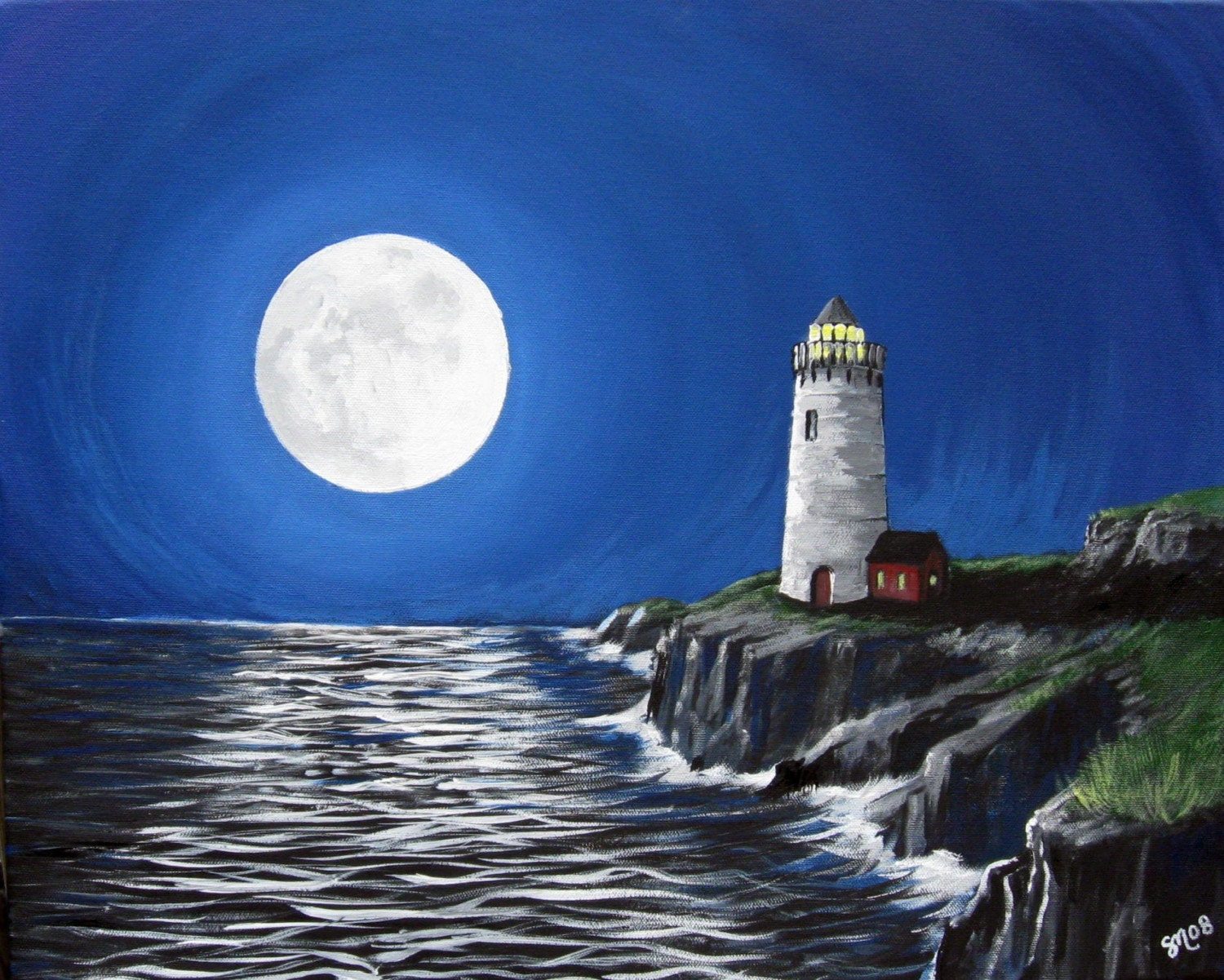 Lighthouses At Night And Moon