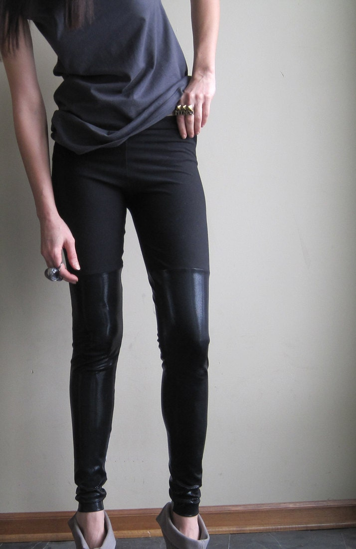 Minimalist grunge leggings - metallic black faux thigh highs made with shining spandex - large - Minxshop