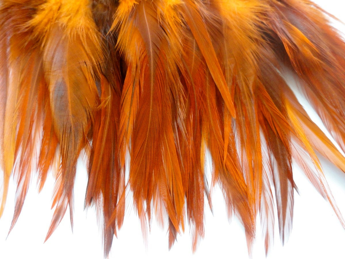 10 Burnt Orange Hair Feather Extensions By