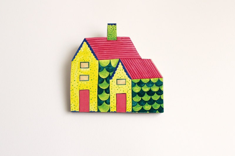 Wooden Brooch Colourful Green Scalloped Walls House with Chimney - whimsymilieu