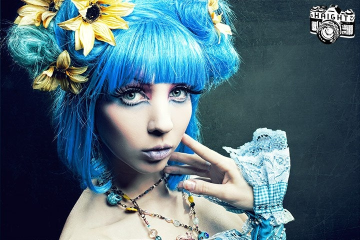 Blue Hawaiian Dreams Big Gothic Wig, boudoir fancy up do with flowers,  by Hair Nurse Lana.