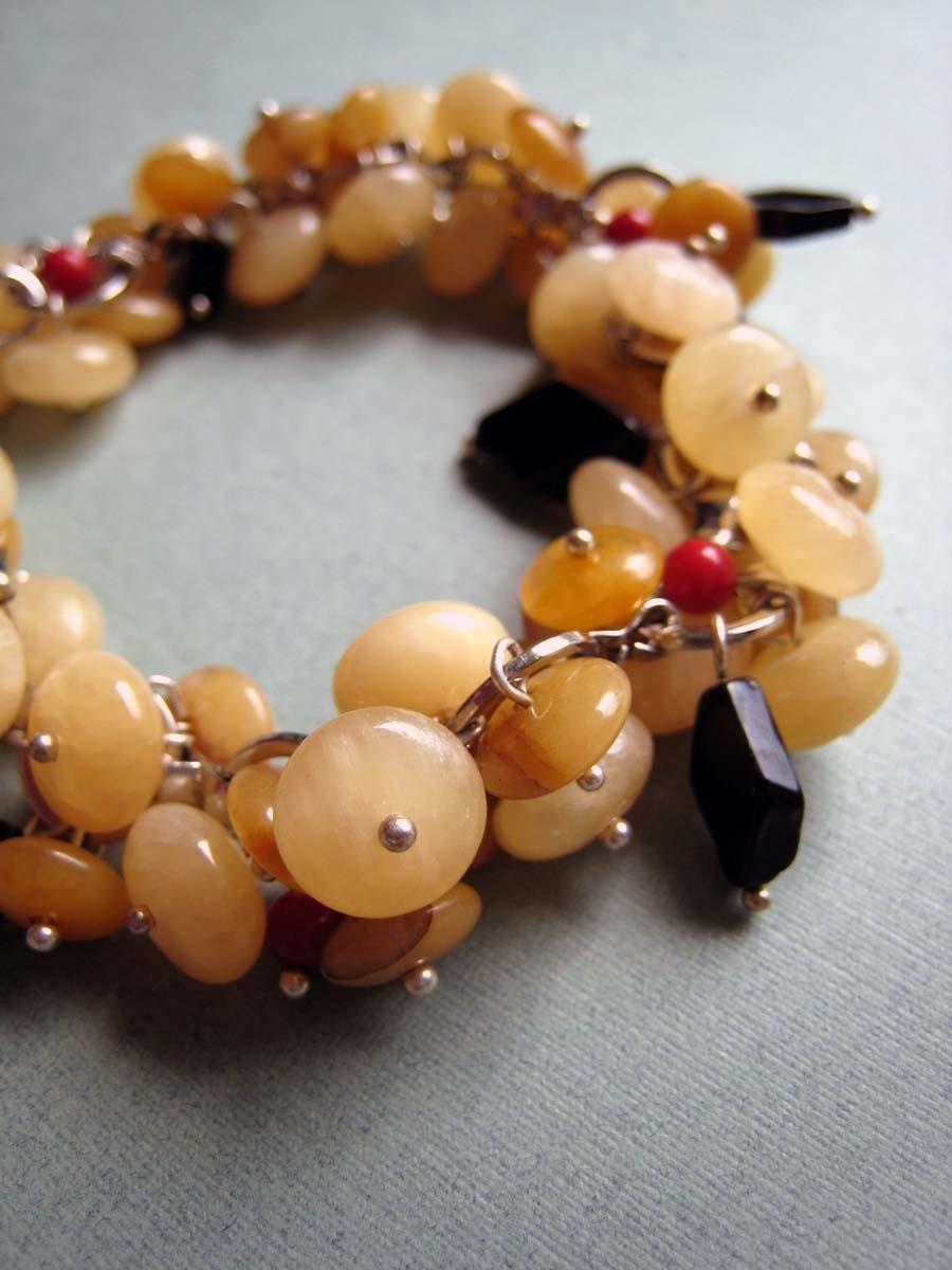 TEXTURED Honeybee - honey yellow jade, onyx and red coral bracelet
