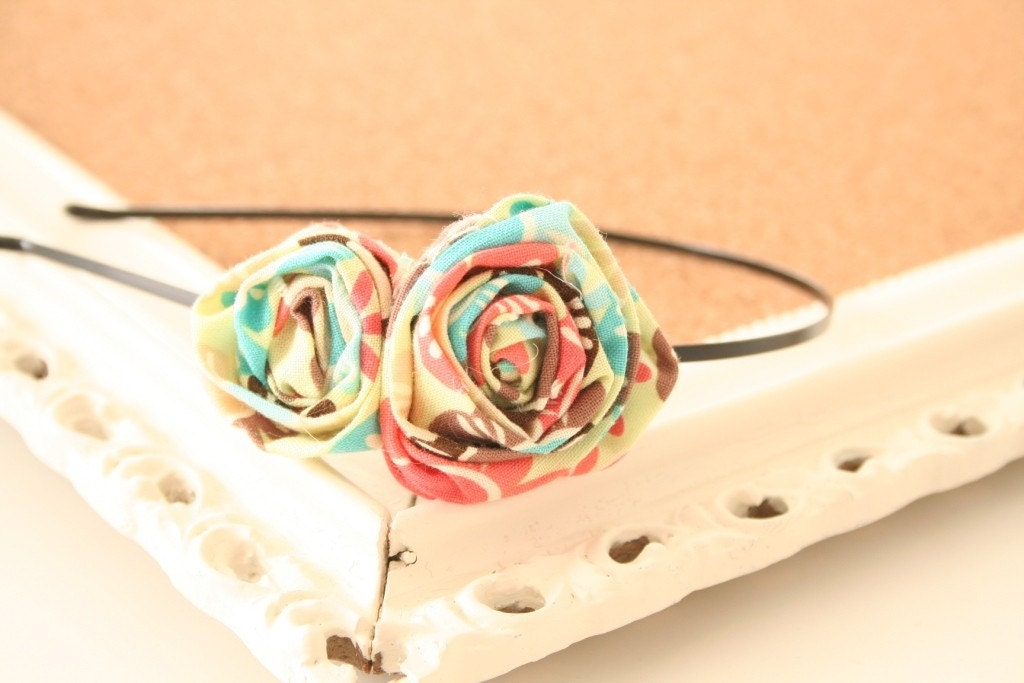 Sweet Tart fabric rosette headband