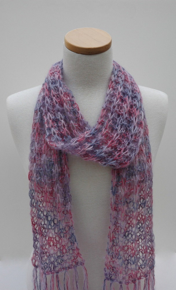 Silk and Mohair Scarf Hand Knit Rose Mauve Lavender by ScarfRunner