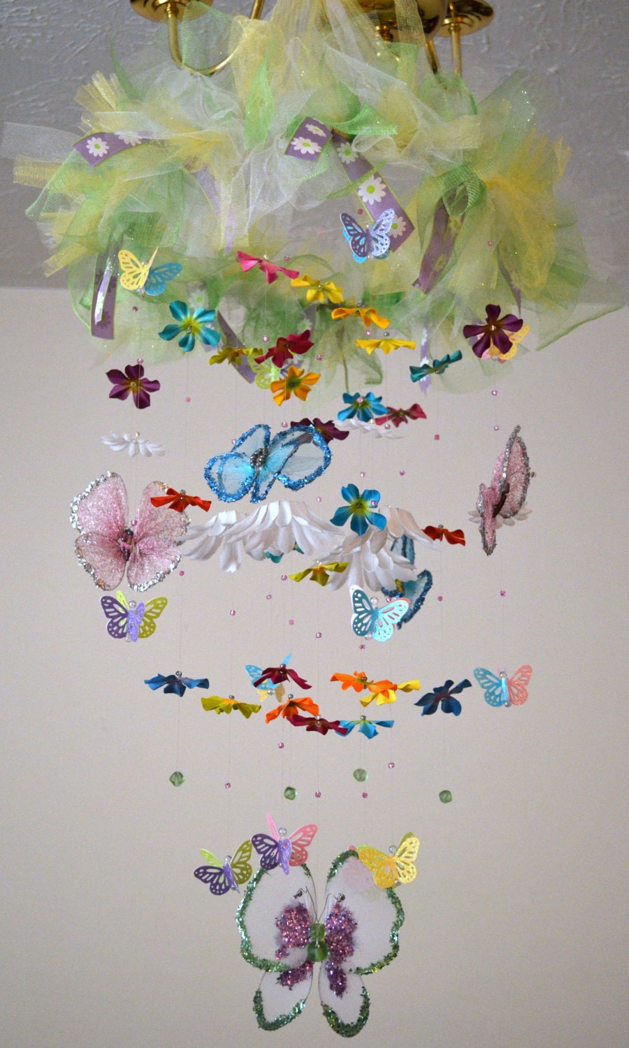 Butterfly Garden Mobile (Butterflies/Flowers),Baby Shower Gift,Nursery Decor, Chandelier