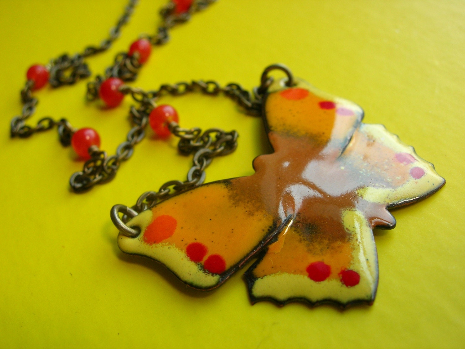 Psychedelic Butterfly Necklace from etsy.com