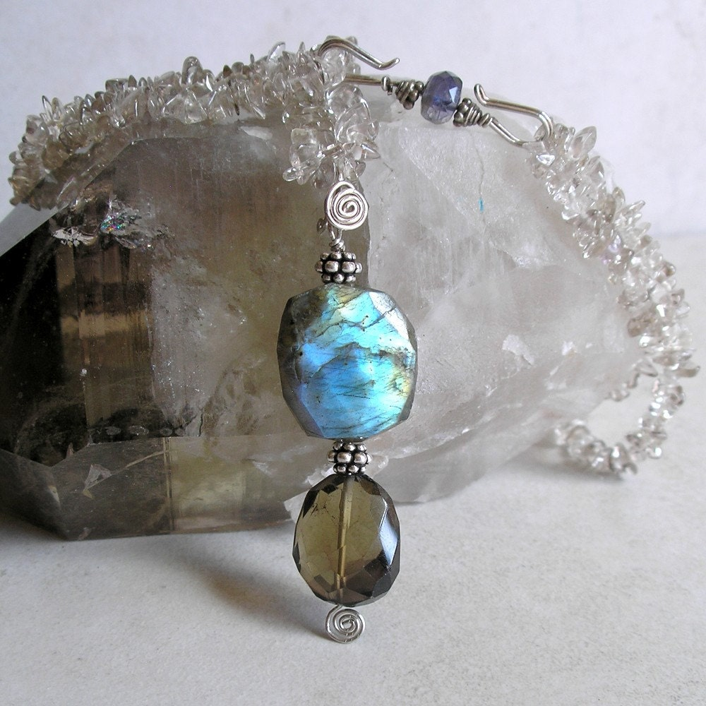 Labradorite Smoky Quartz Pendant Modular Necklace by Foret on Etsy from etsy.com
