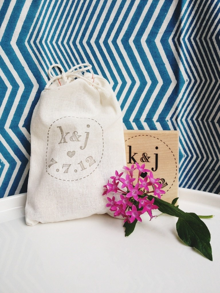 Personalized Treat Bag Wedding Stamp- Favors, Buffets, Packaging