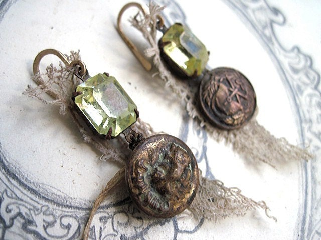 The Brethren of Purity. Vintage Jonquil Rhinestone and Antique Button Earrings.