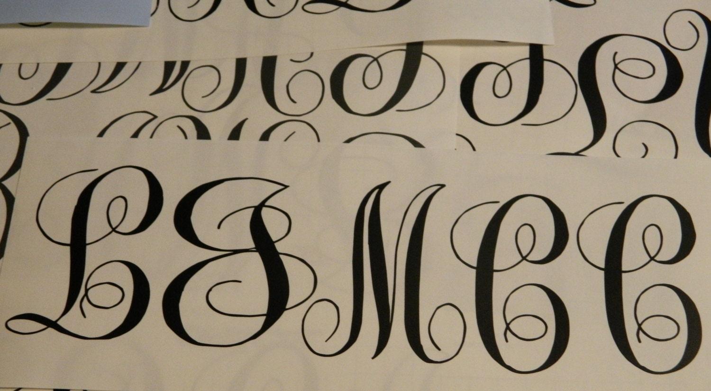 Vine monogram with name vinyl lettering by for Where to buy vinyl letters for wine glasses