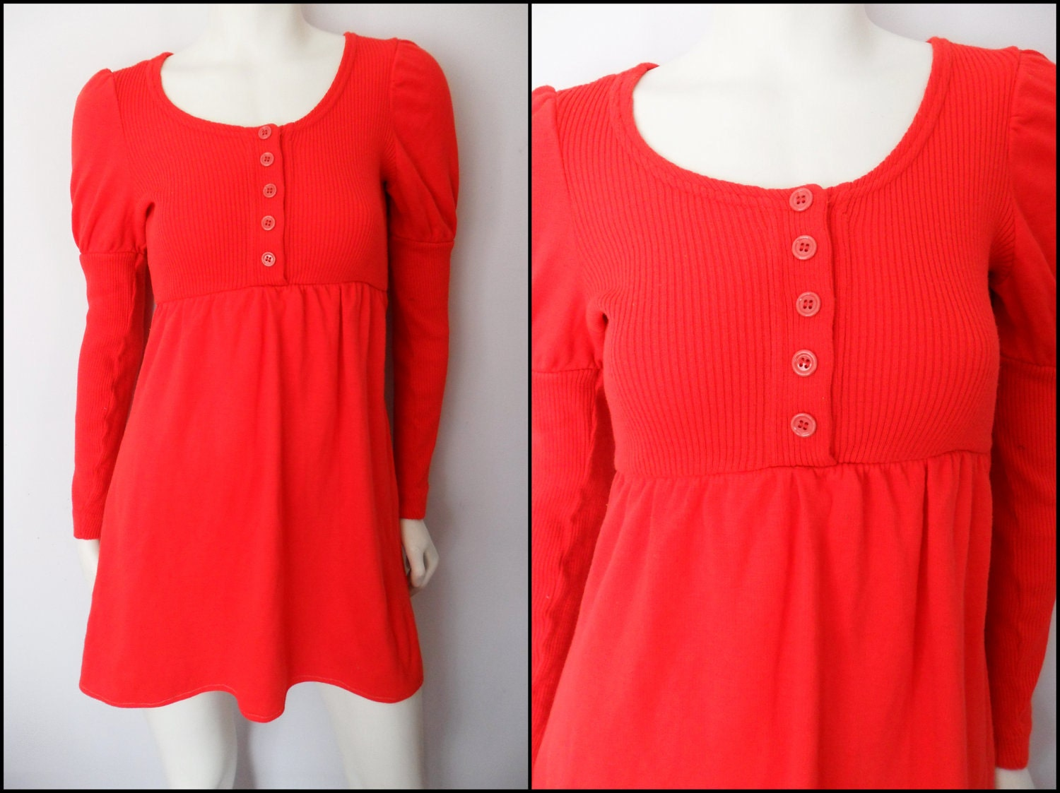 Vtg.60s Red Ribbed Princess Maiden Long Sleeve MOD Sweater Mini Dress.S/M.Bust 34-40.Waist 22-34.Hips 44.