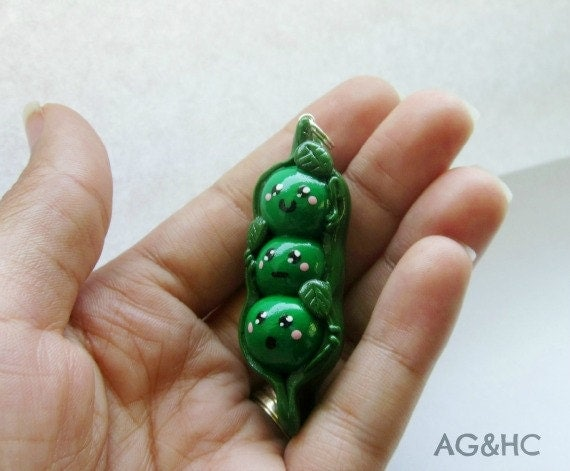 MARKDOWN Cute Peas in a Pod Clay Charm - Handcrafted Polymer Clay Charm - FREE Necklace Included