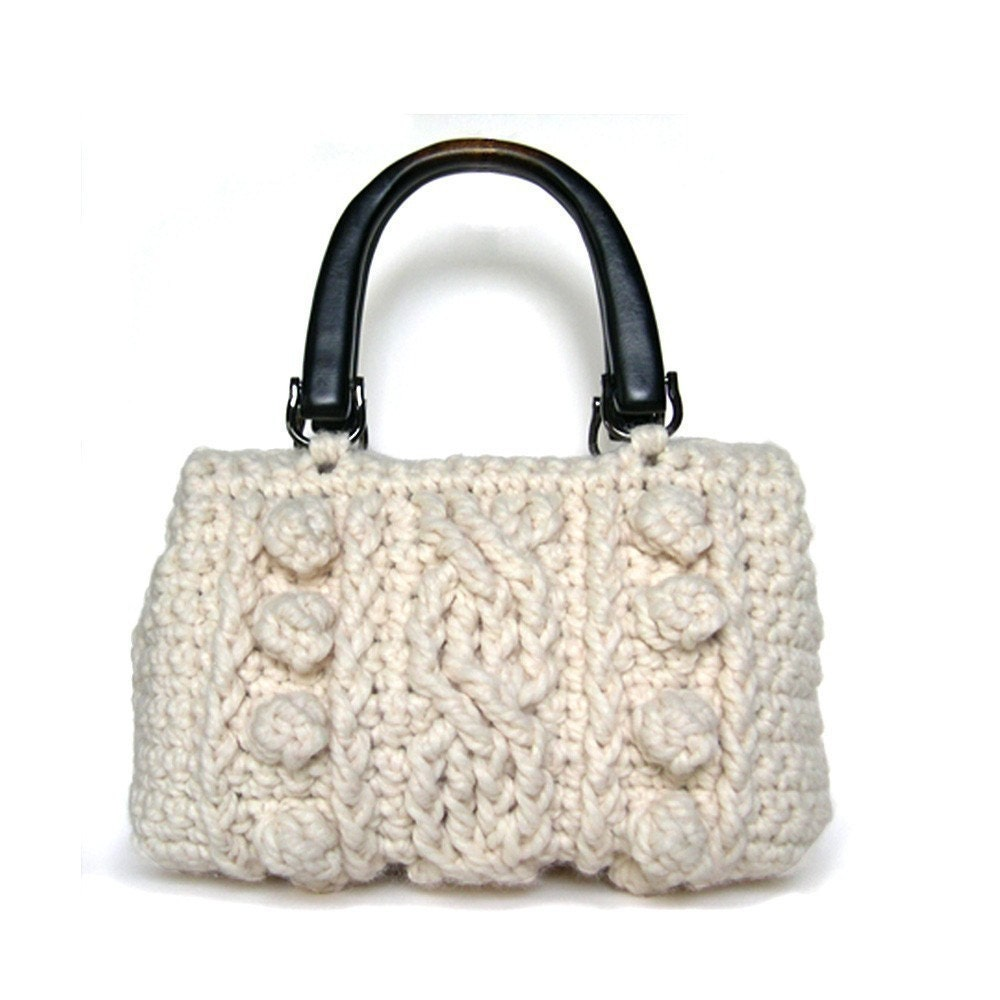 Chunky Crochet Tote Pattern : Crocheted Wool Cable Purse Pattern PDF by littleprojects ...