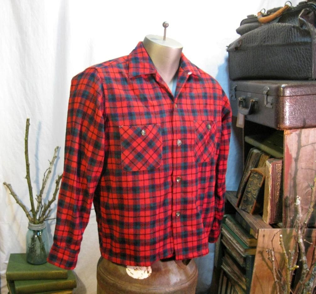 Wool plaid vintage shirt Classic Red Tartan