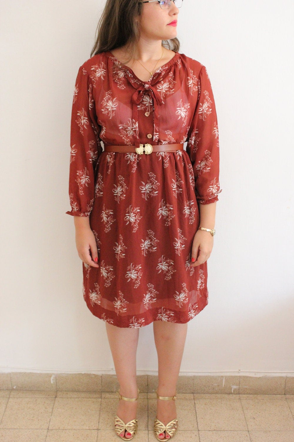 Vintage 70s Floral Brown Secretary Dress With Ascot Tie - SALE - ClementinesBoutique