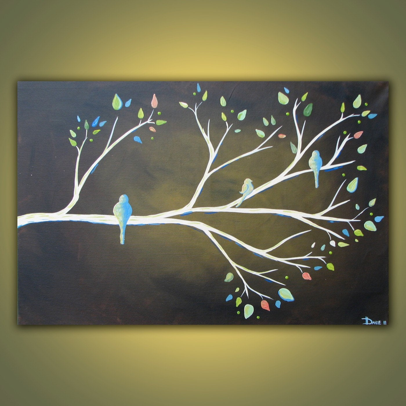 Spring Branch original acrylic bird painting on canvas 3ft x 2ft