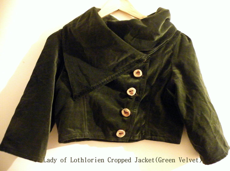 Lady of Lothlorien- Cropped Jacket in Forest Green Velvet (bohemian,ethnic,goddess,hippie,gypsy,elf,elven,elvish,fairy,women,natural,wool)