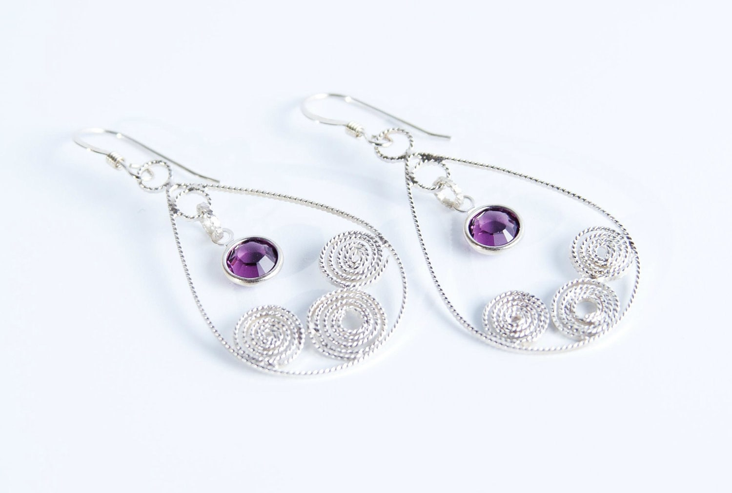 Purple Amethyst Swarovski Crystal Earrings,  Dangle Earrings, OR Pick Color, Filigree Jewelry, Tears of Joy Swirls