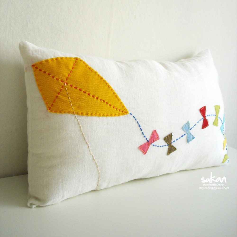 Kite -  Linen Pillow cover - 12x20