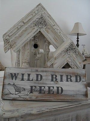 Hand Painted, Wild Bird Feed sign... With chain, Cottage Living