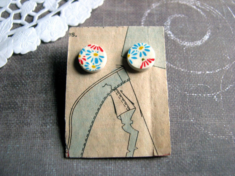 Blue daisies earrings