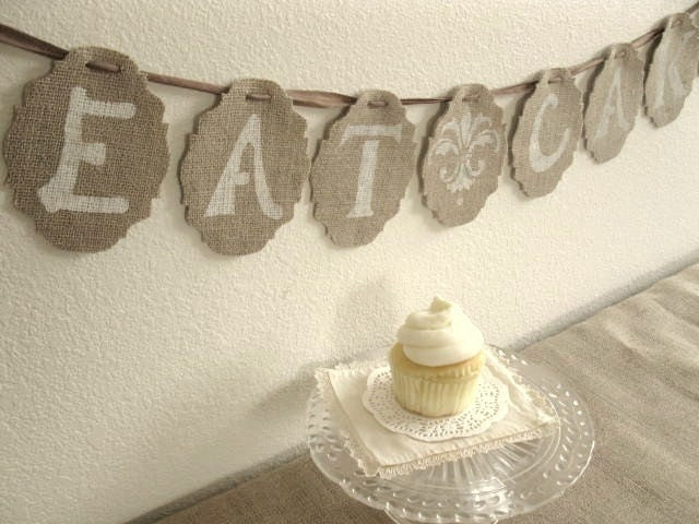 EAT CAKE - Burlap Banner - Wedding - Party - original designs by Blue Pearls