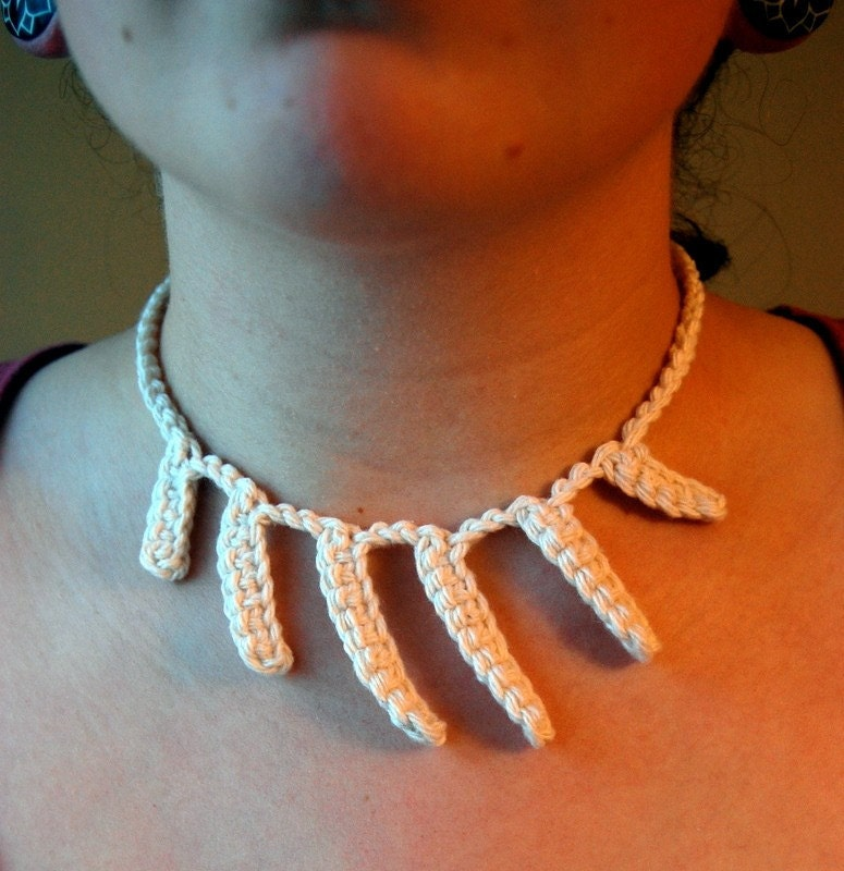 crocheted bone necklace