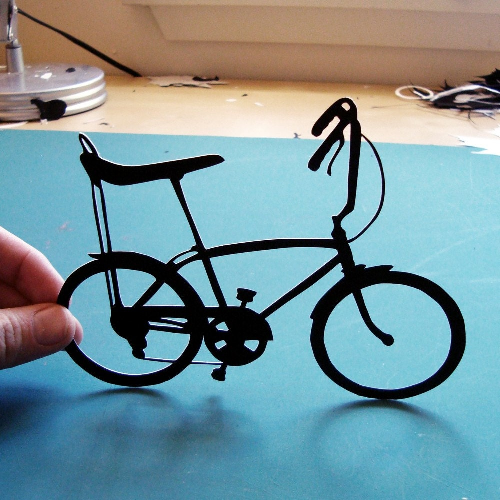 Banana Seat Bike, Hand-Cut Original Paper Silhouette- 8x10