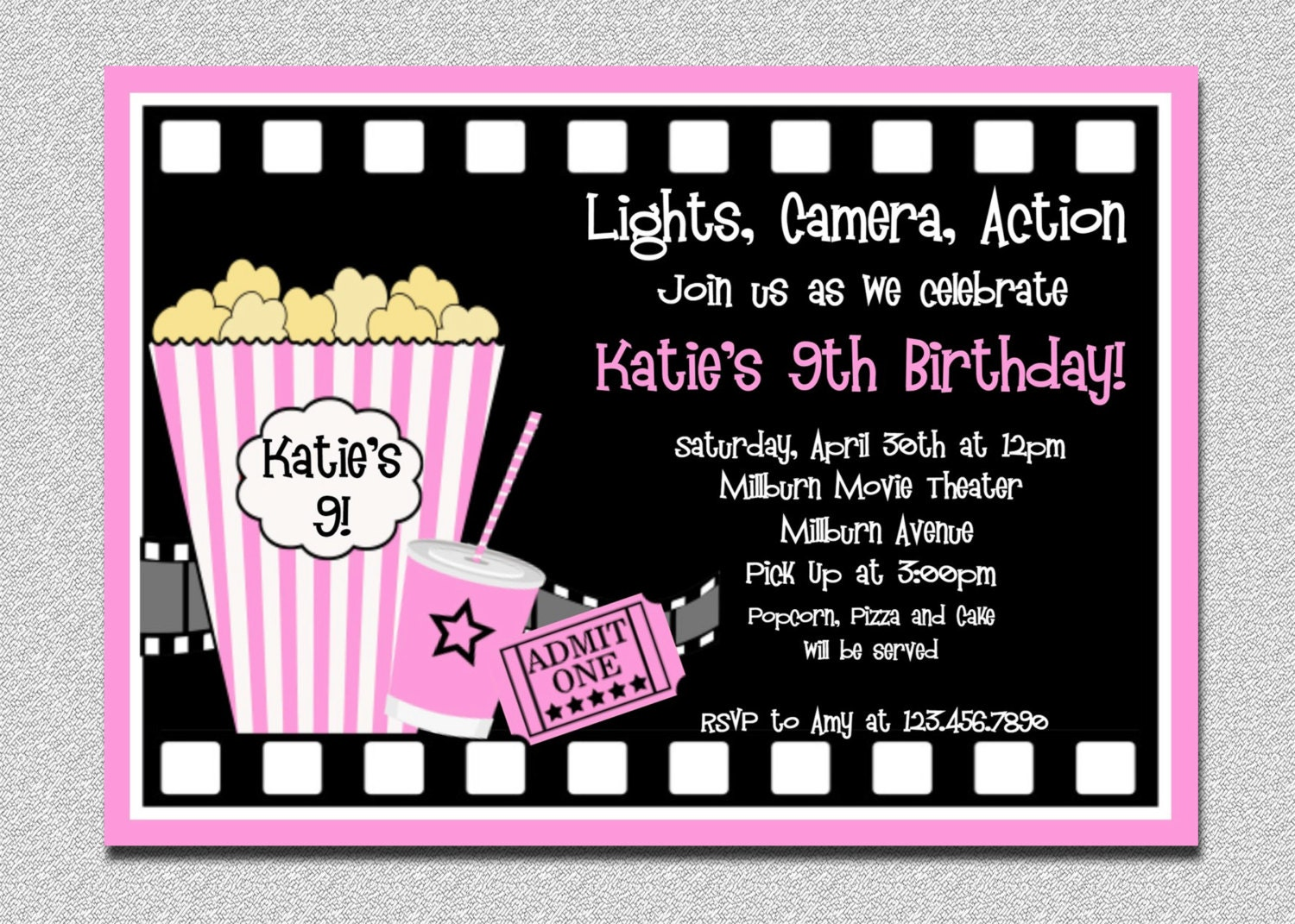 Inventive image with regard to free printable movie party invitations
